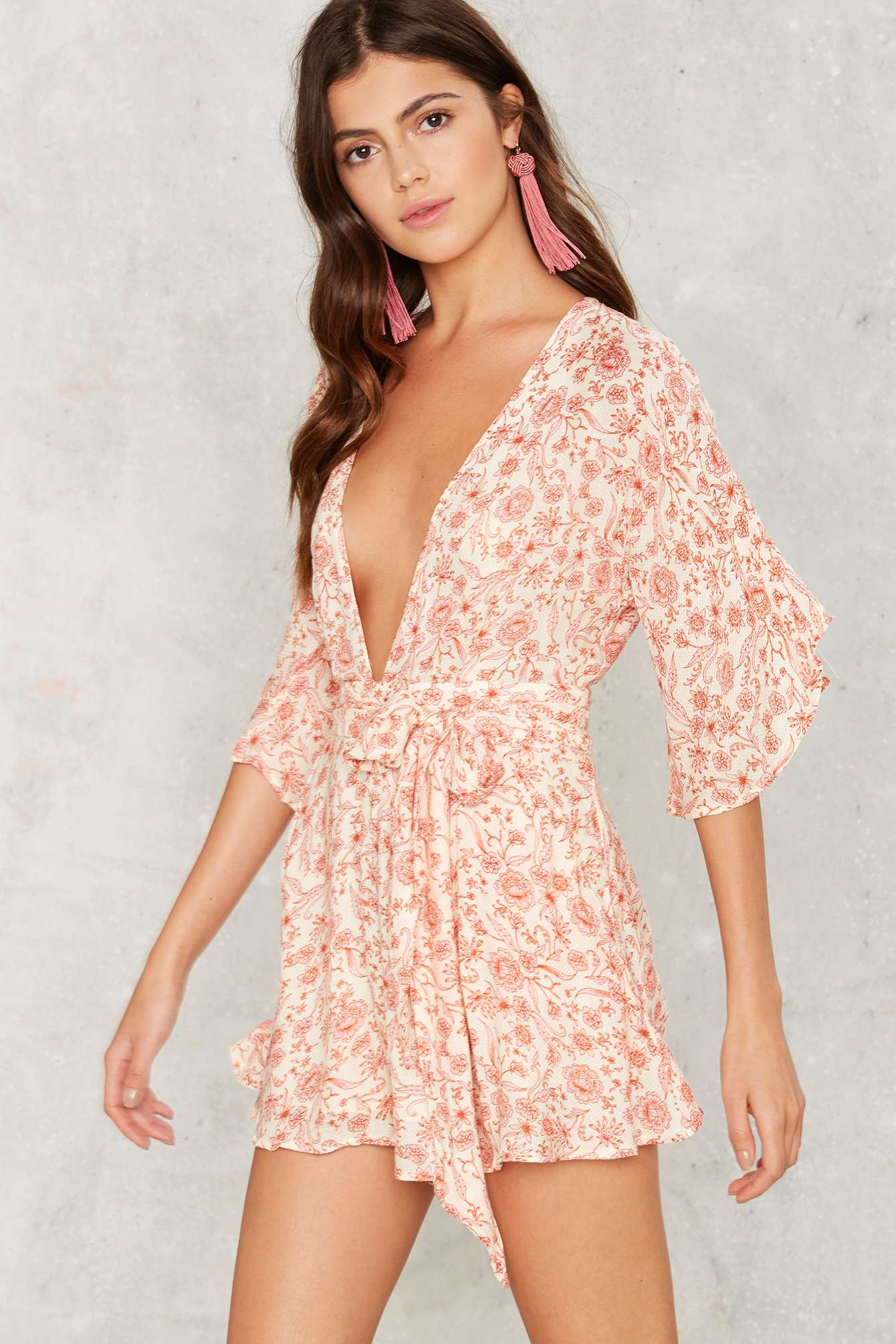 Lyst Nasty Gal Mystery Plungin Open Back Romper Red