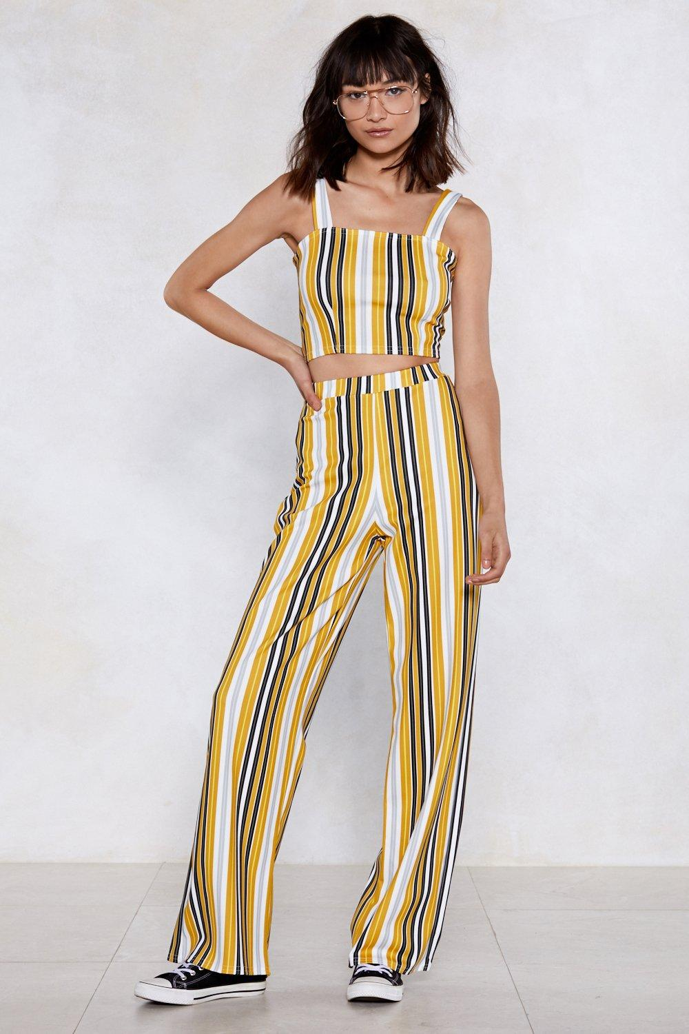 ce65711c5eb0e Lyst - Nasty Gal Line Has Come Today Striped Crop Top And Pants Set ...