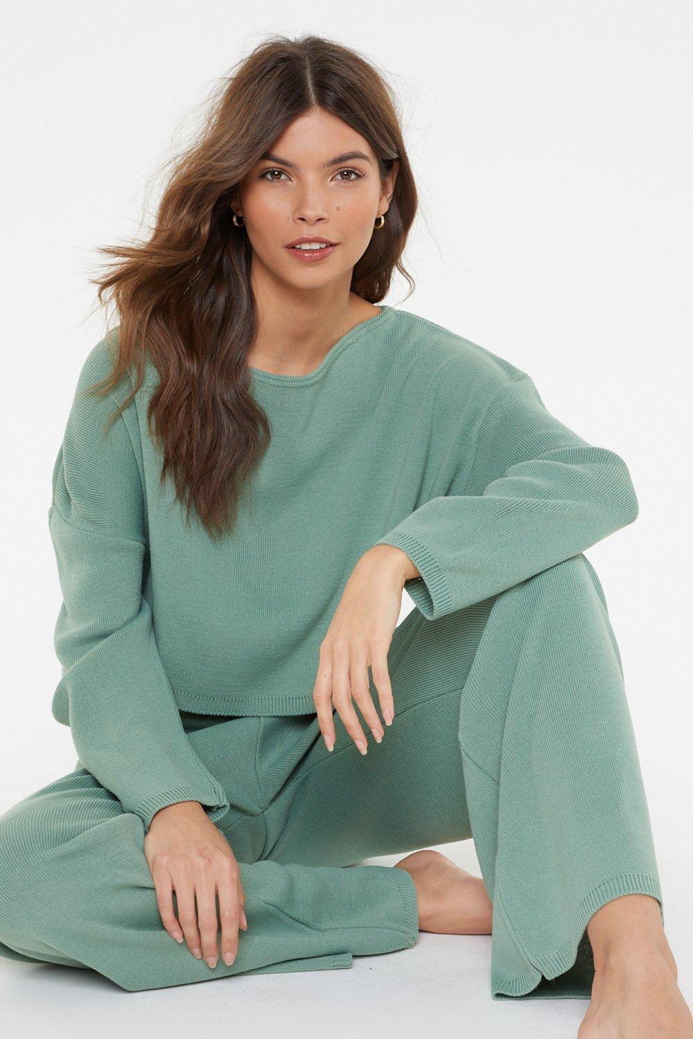 51d9aae928 Nasty Gal Slow Down Sweater And Joggers Lounge Set in Green - Lyst