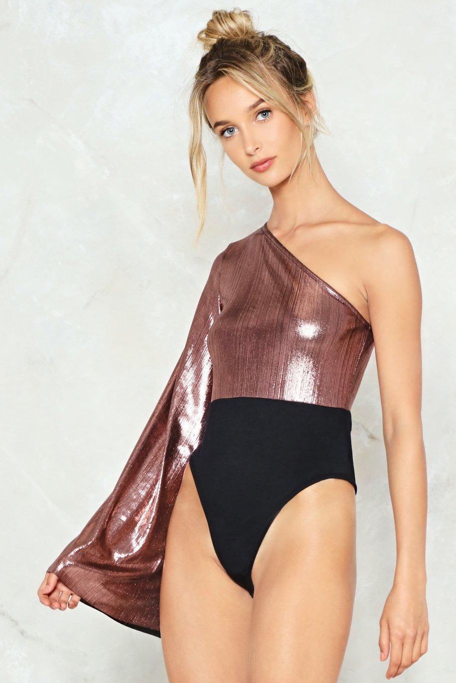 Nasty Gal Sleeve With Me Tonight Metallic Bodysuit in Metallic - Lyst 8fb58fb46