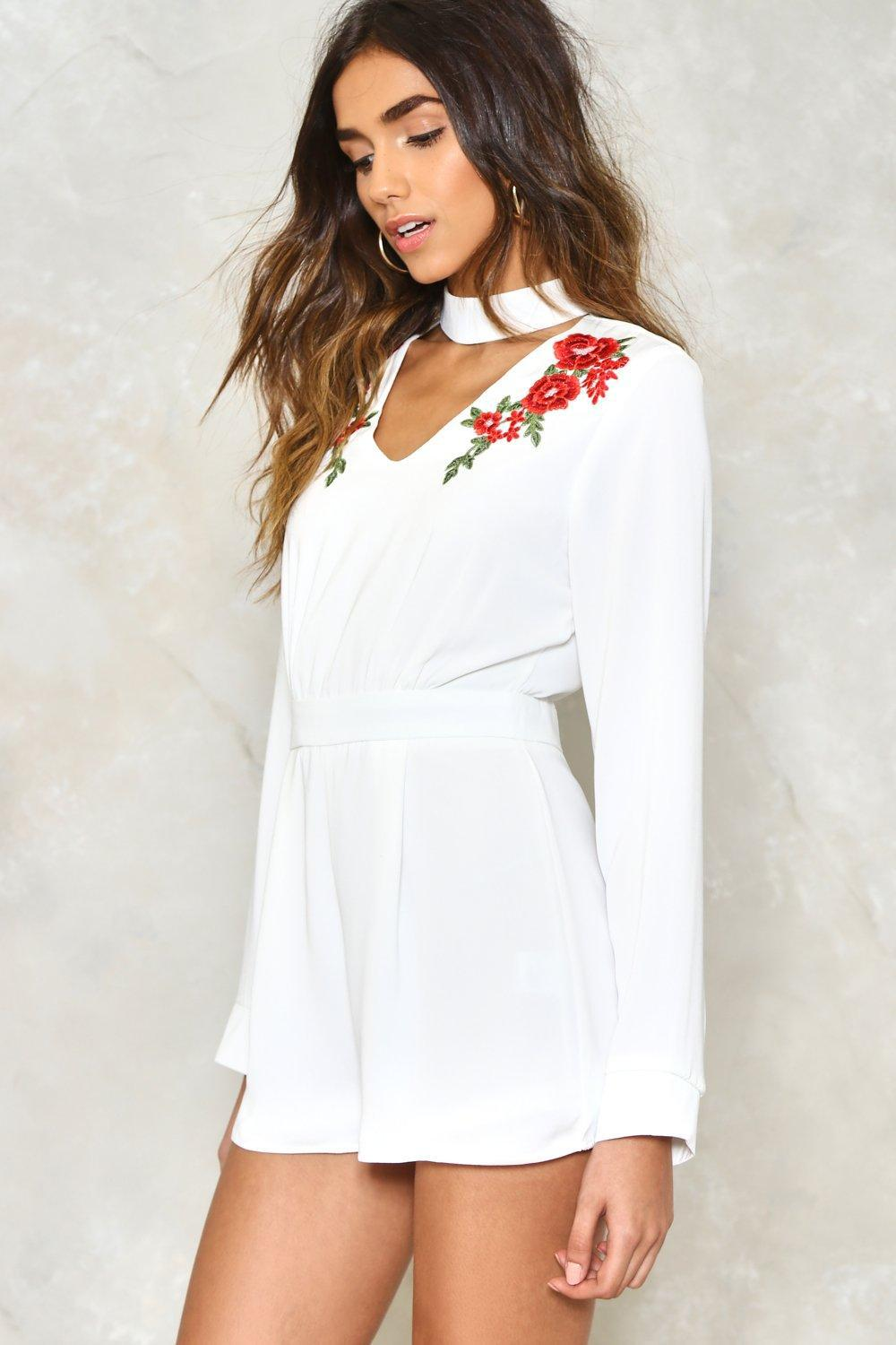 36fcabf687b Lyst - Nasty Gal Rose To The Occasion Embroidered Romper in White