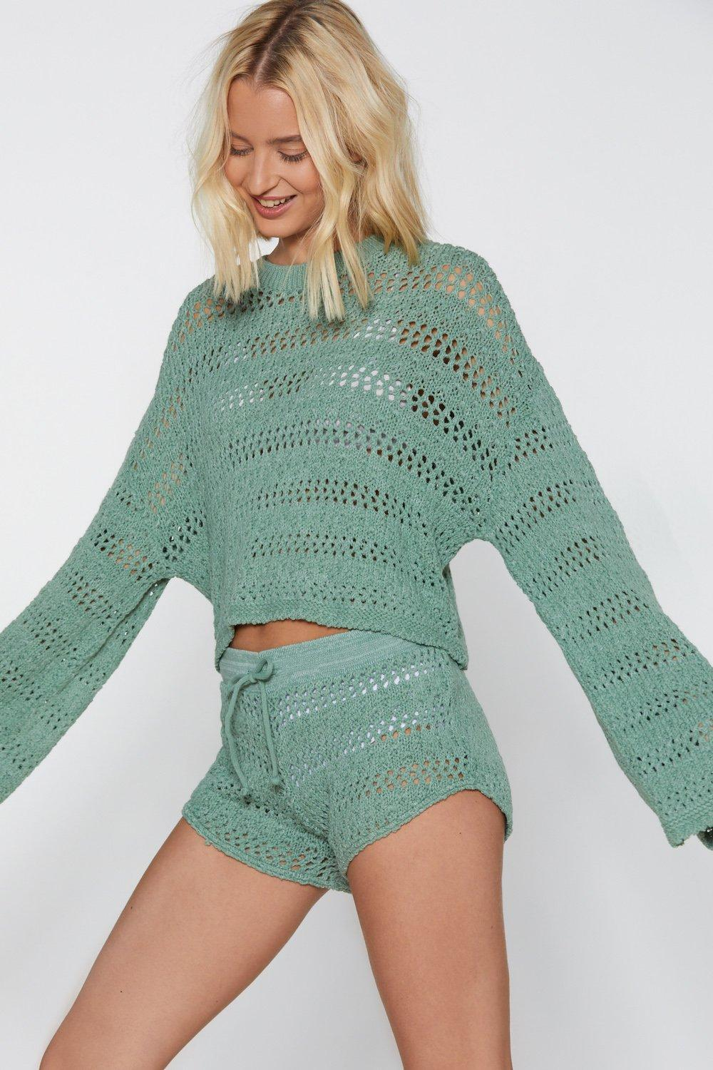 d5d1728b16 Lyst - Nasty Gal It s Crochet Hun Sweater And Shorts Set in Green