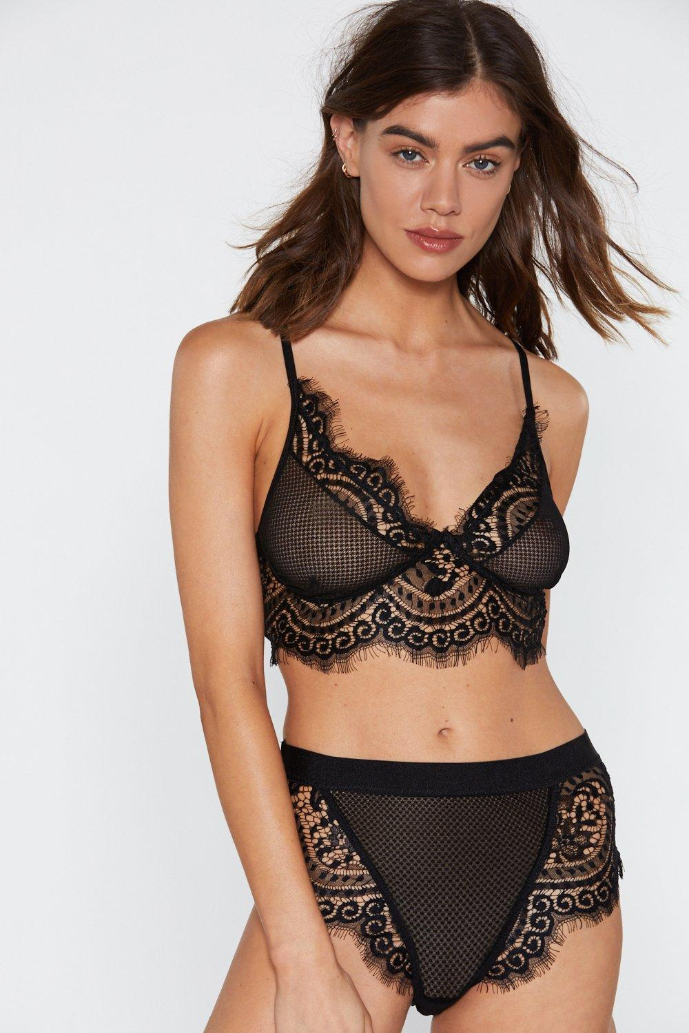 7180f01dc8597 Lyst - Nasty Gal Rock With You Eyelash Lace Bralette And Panty Set ...
