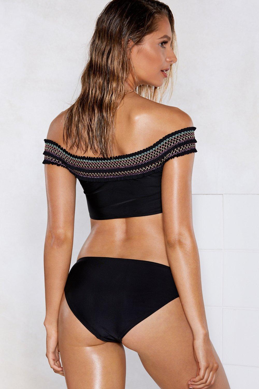 d5fc86d6405cef Nasty Gal - Black Rest A-shirred Off-the-shoulder Bikini Set -. View  fullscreen