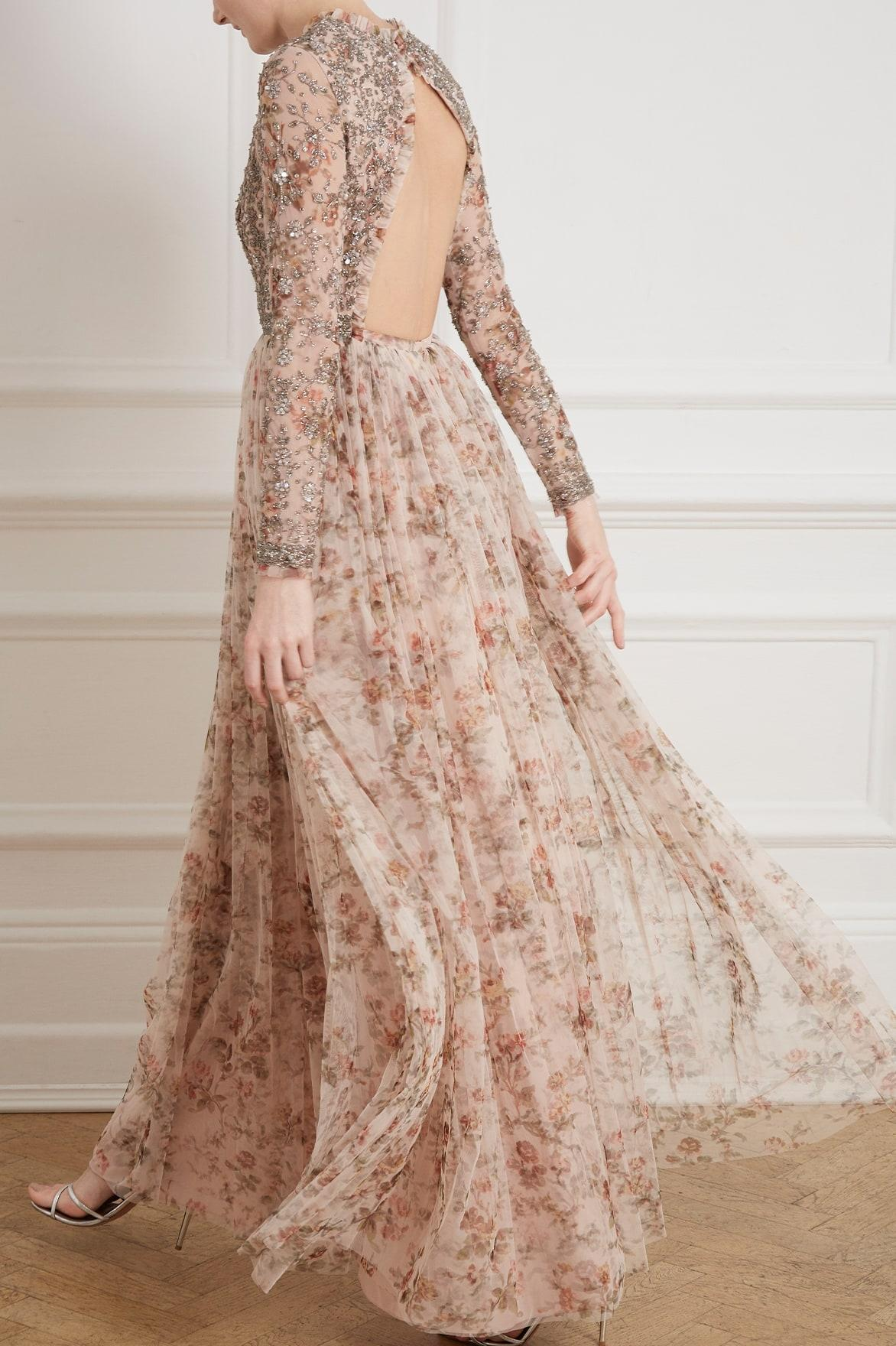 af02a30d932 Needle   Thread - Pink Andromeda Garland Long Sleeve Gown - Lyst. View  fullscreen