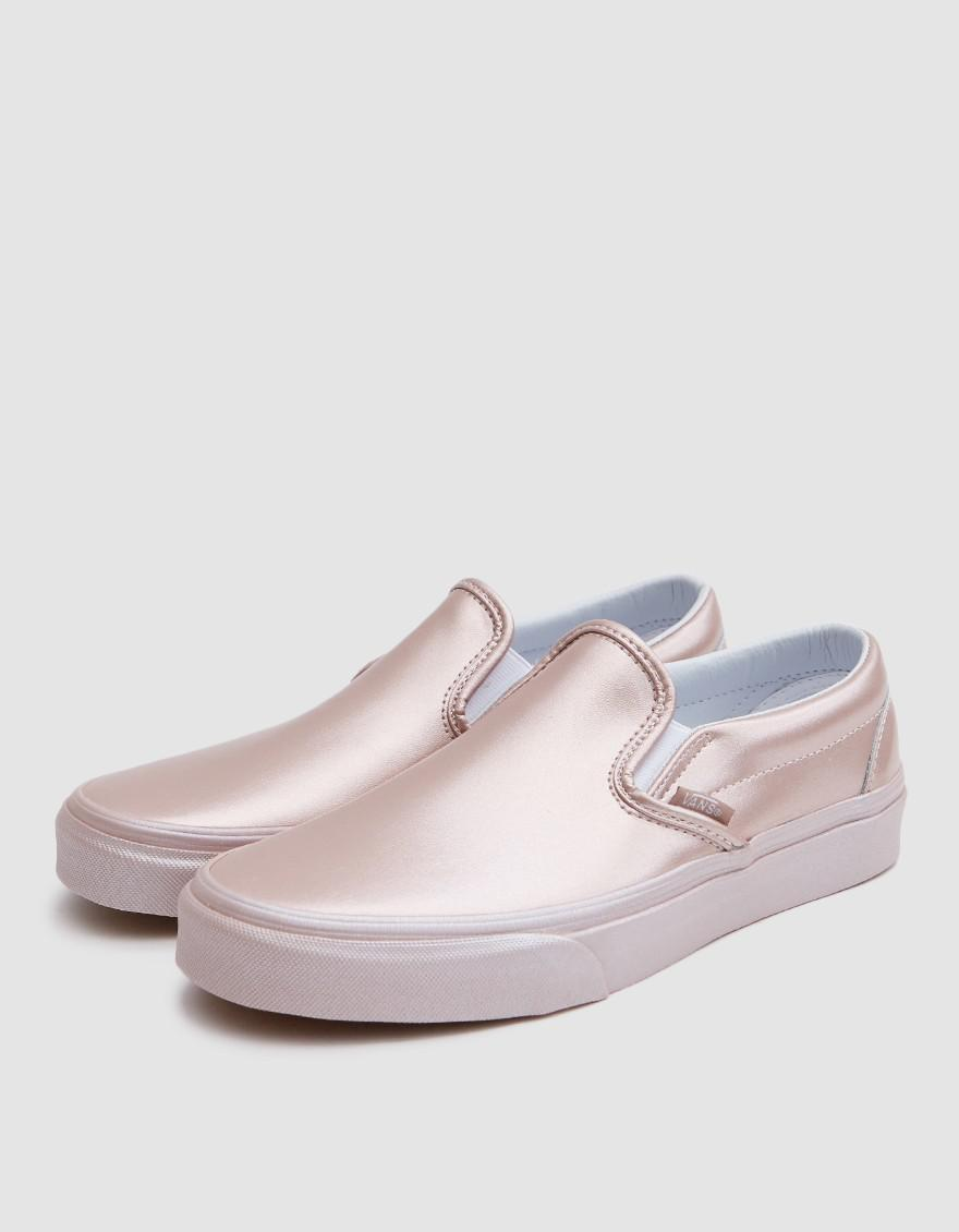 09a209a161a Vans Classic Slip On In Metallic Rose Gold in Pink - Lyst