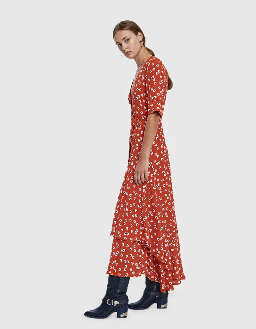 e3a606a750 Ganni Silvery Crepe Floral Wrap Dress in Red - Lyst