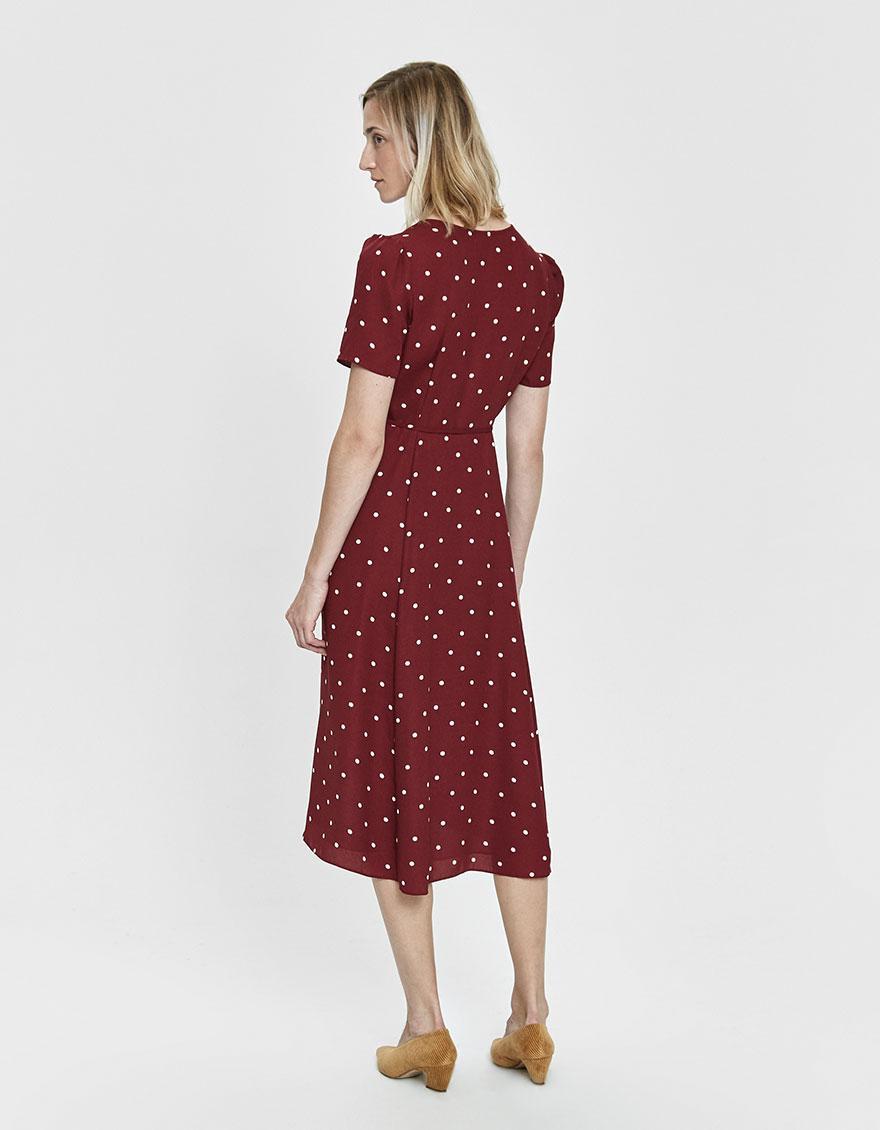 7a4dd553e09 Farrow - Red Elsa Polka-dot Wrap Dress - Lyst. View fullscreen