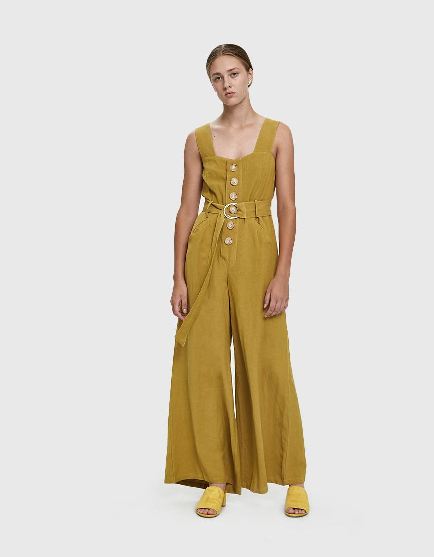 c1fc7349902c Farrow Willy Buttoned Linen Jumpsuit in Yellow - Lyst