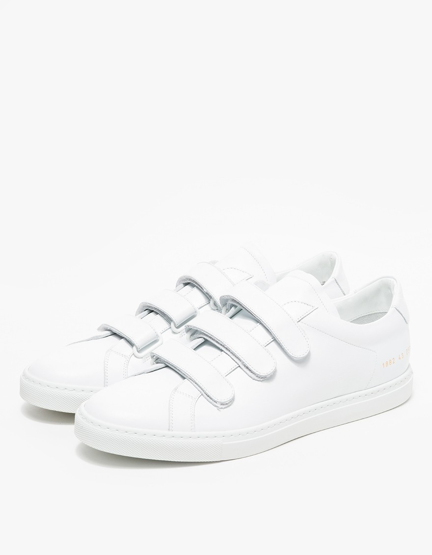 common projects achilles three strap low top sneakers in white for men lyst. Black Bedroom Furniture Sets. Home Design Ideas