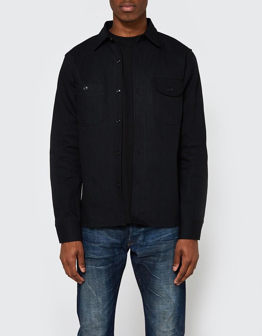 Rogue territory work shirt stealth denim in black for men for Mens denim work shirt