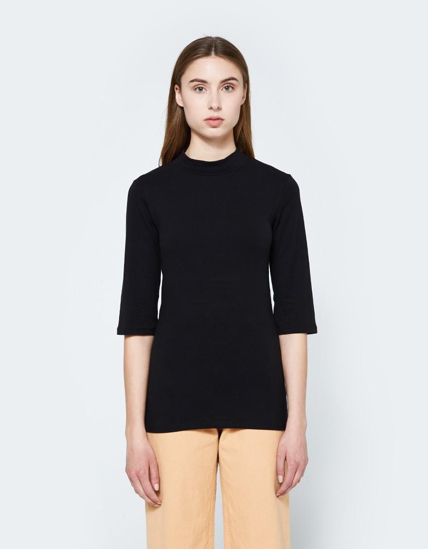 Just female Pop Neck Blouse In Black in Black  Lyst