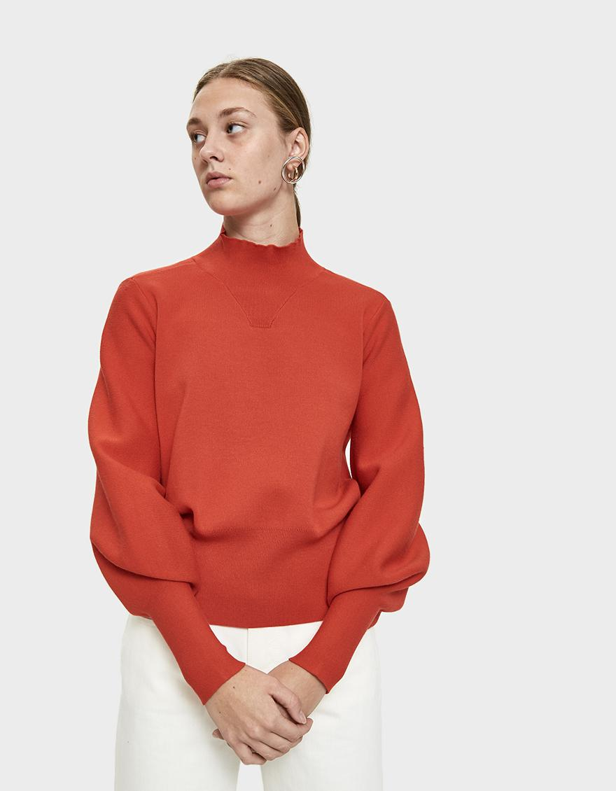 3a1c8a6c791 Just Female Alma Bishop Sleeve Sweater in Red - Save 50% - Lyst
