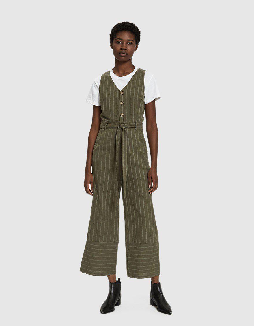 13634bcbec71 Farrow Olivia Striped Jumpsuit in Green - Lyst