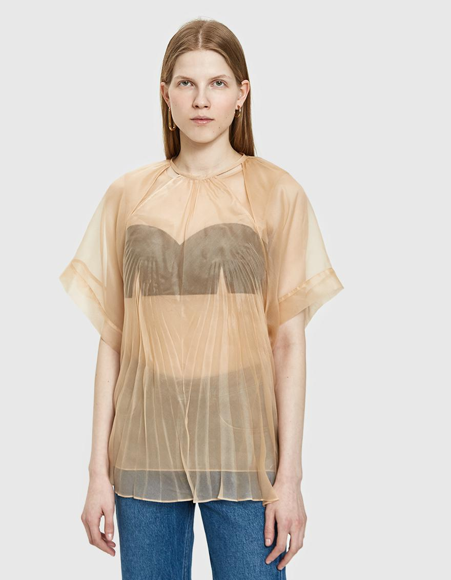 ceb046f3f0d Lyst - Maison Margiela Pleated Silk Top in Natural