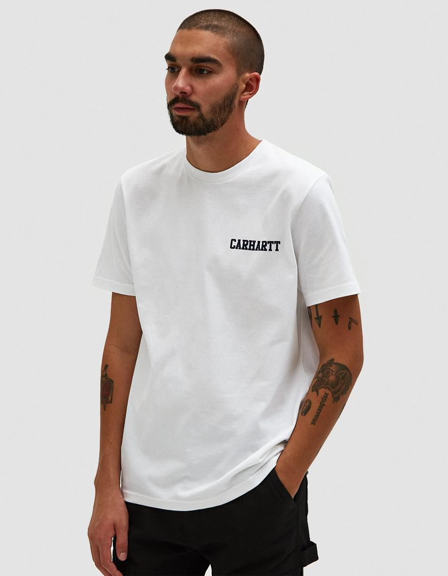 Carhartt WIP S s College Script T-shirt In White navy in White for ... cfbf82761