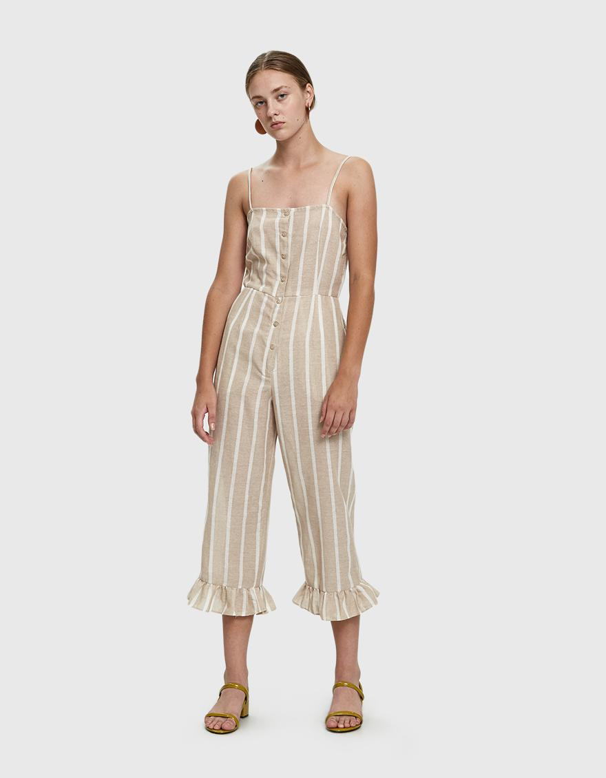 508abbad1f0f Lyst - Farrow Jaime Striped Cotton Jumpsuit in Natural