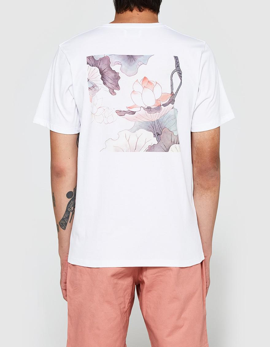 Lyst saturdays nyc lotus flower ss tee in white for men gallery izmirmasajfo Images