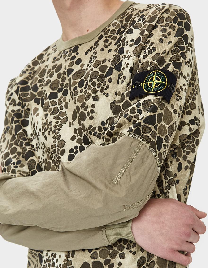 021397b6bce97 Lyst - Stone Island Alligator Camo Cotton Fleece Sweatshirt in ...