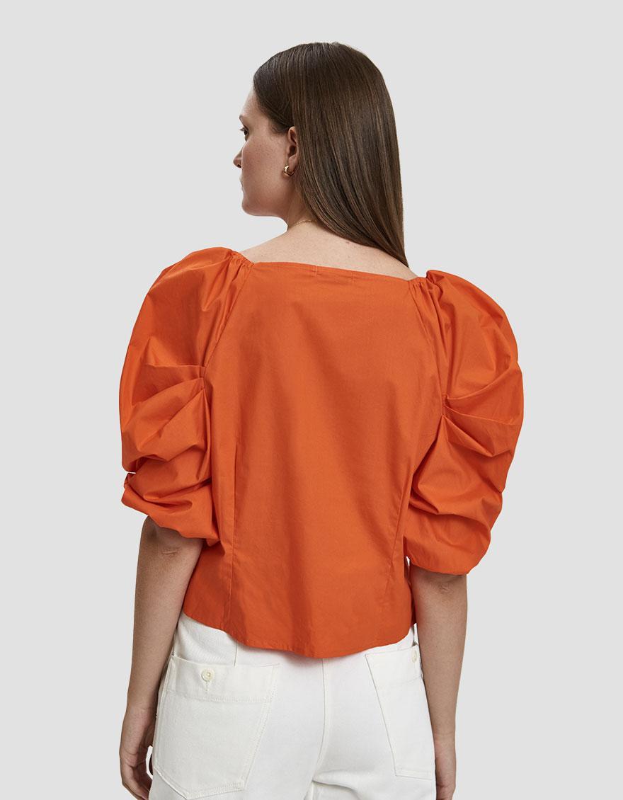 39e307aaec6d4e Farrow Krystal Balloon Sleeve Top in Orange - Lyst