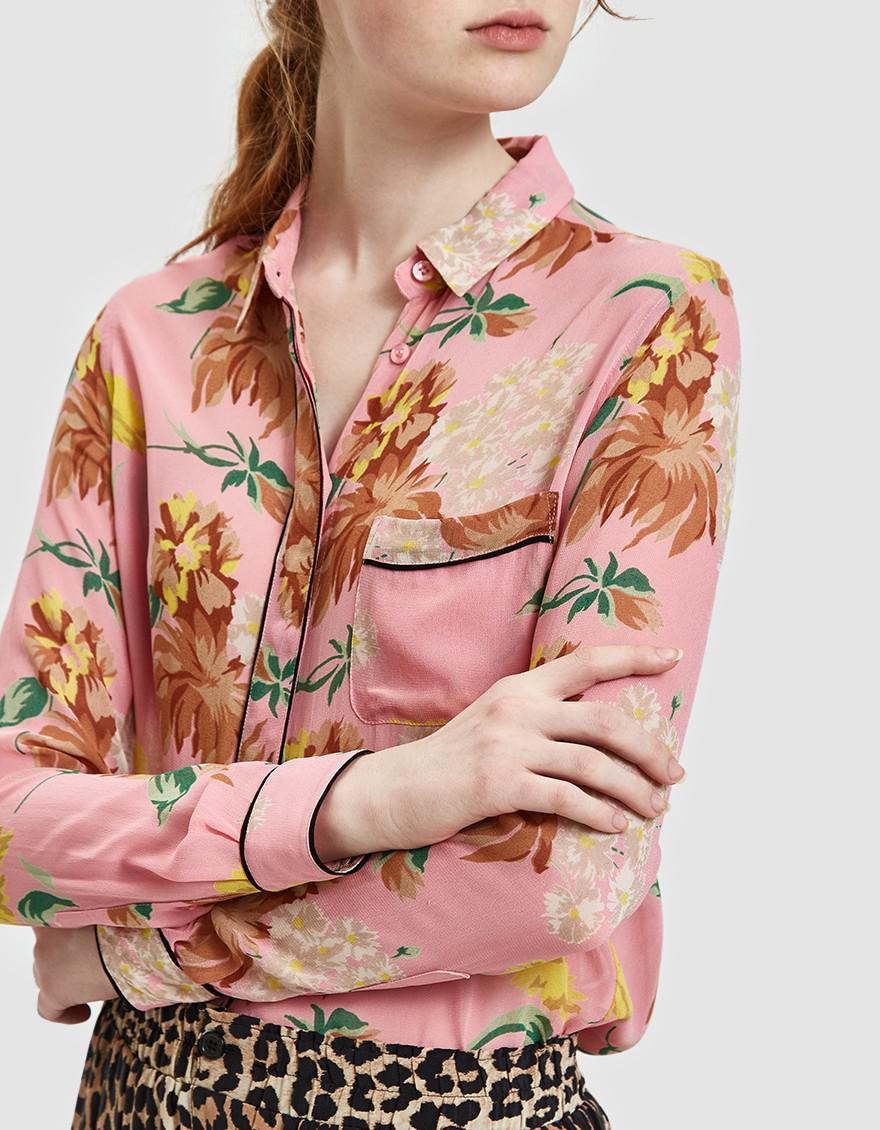 df0e631b Ganni Marceau Georgette Shirt In Sea Pink in Pink - Lyst