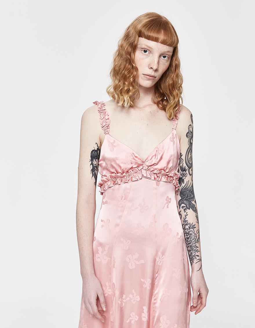 7828643a792 Lyst - ALEXACHUNG Ruffle Trim Cami Dress in Pink