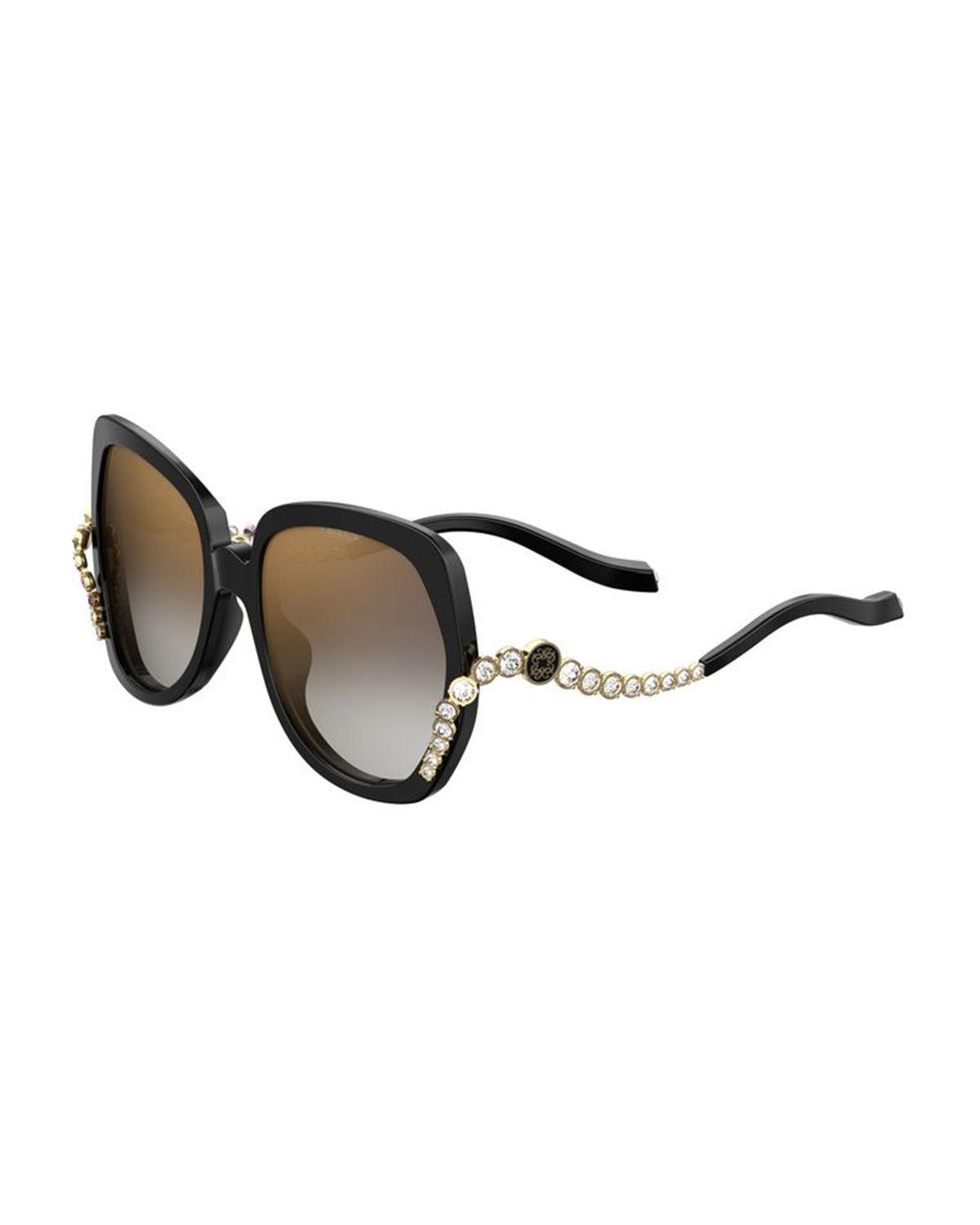 fbe6918b43 Elie Saab. Women s Black Square Acetate Sunglasses W  Crystal Wave Arms.   780 From Neiman Marcus ...