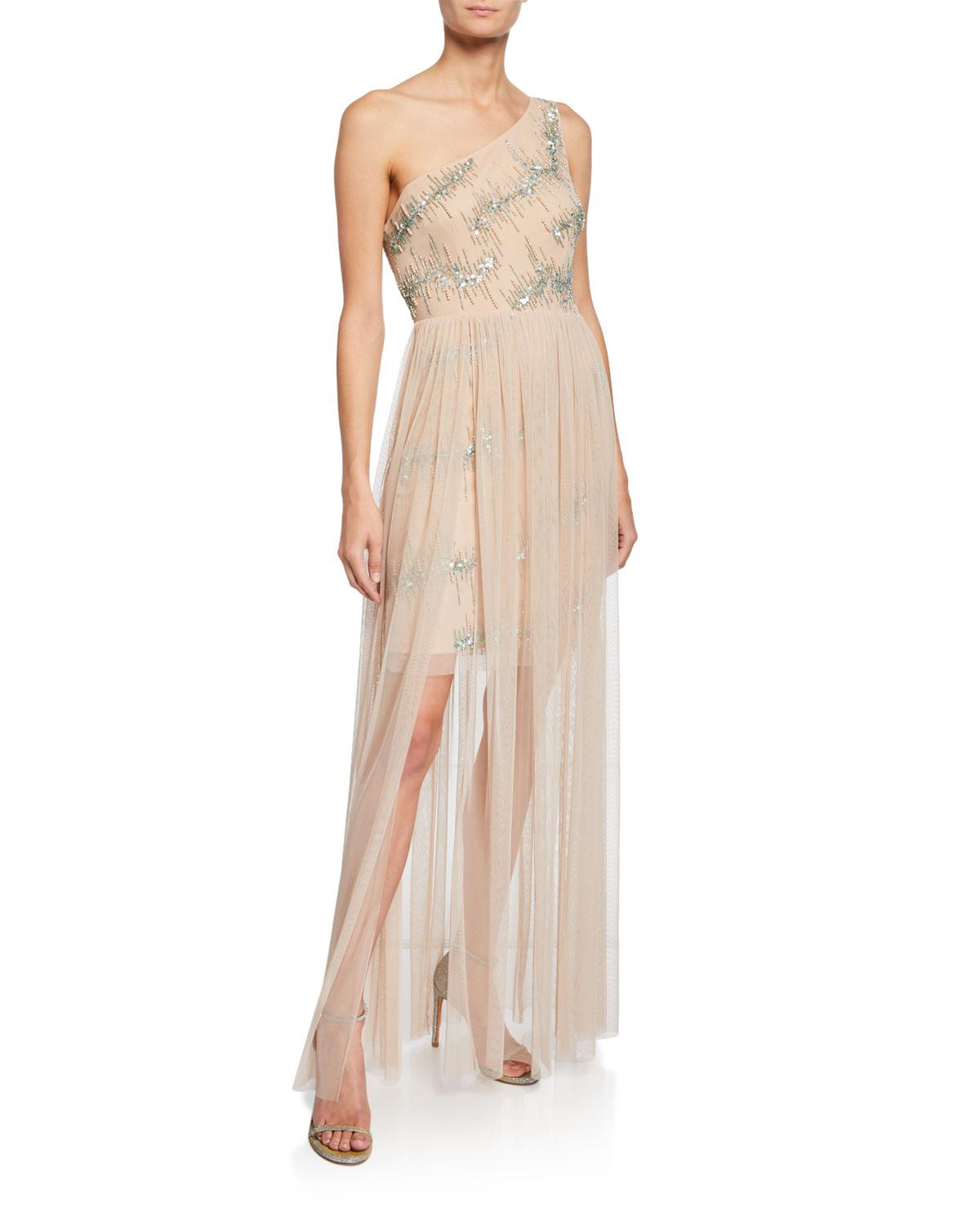 4a96bcc29ab41 Aidan By Aidan Mattox. Women s Natural One-shoulder Hand-beaded Mesh Gown W   Sequins   Tulle Skirt Overlay