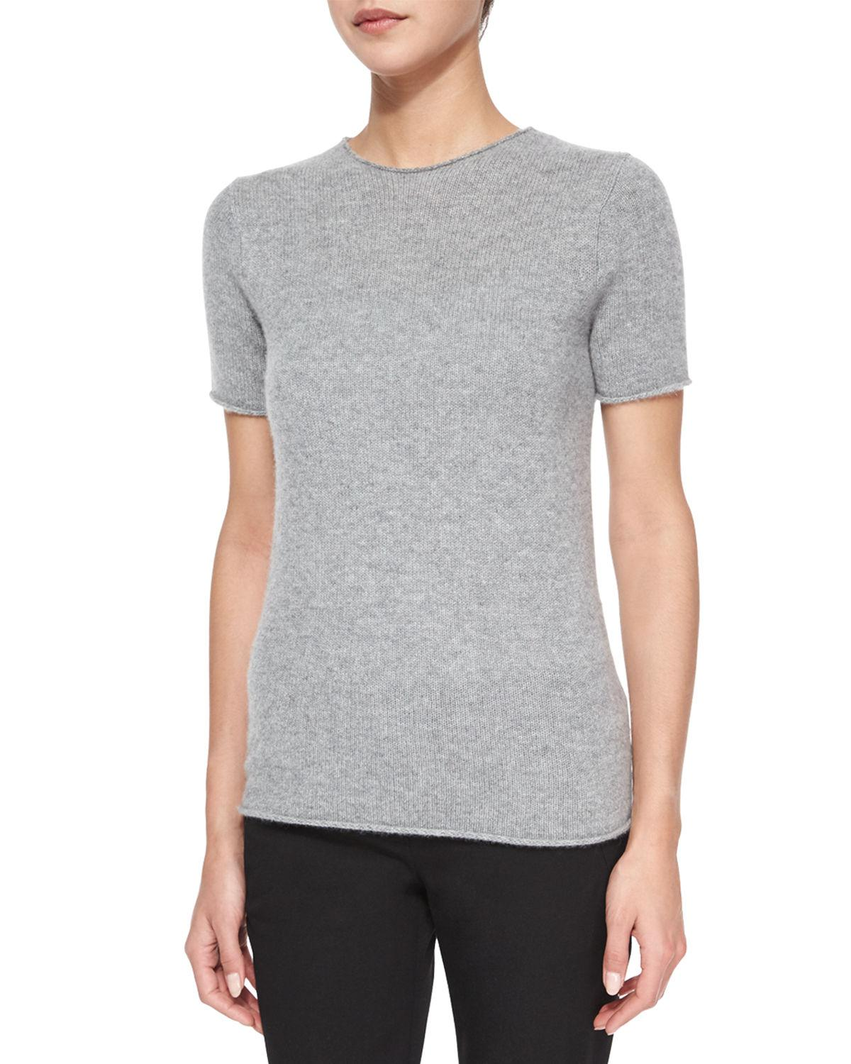 Theory Tolleree Short-sleeve Cashmere Sweater in Gray | Lyst