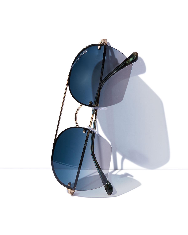 2eb3e7d338e Lyst - Tom Ford Antonia Cutoff Round Sunglasses in Blue