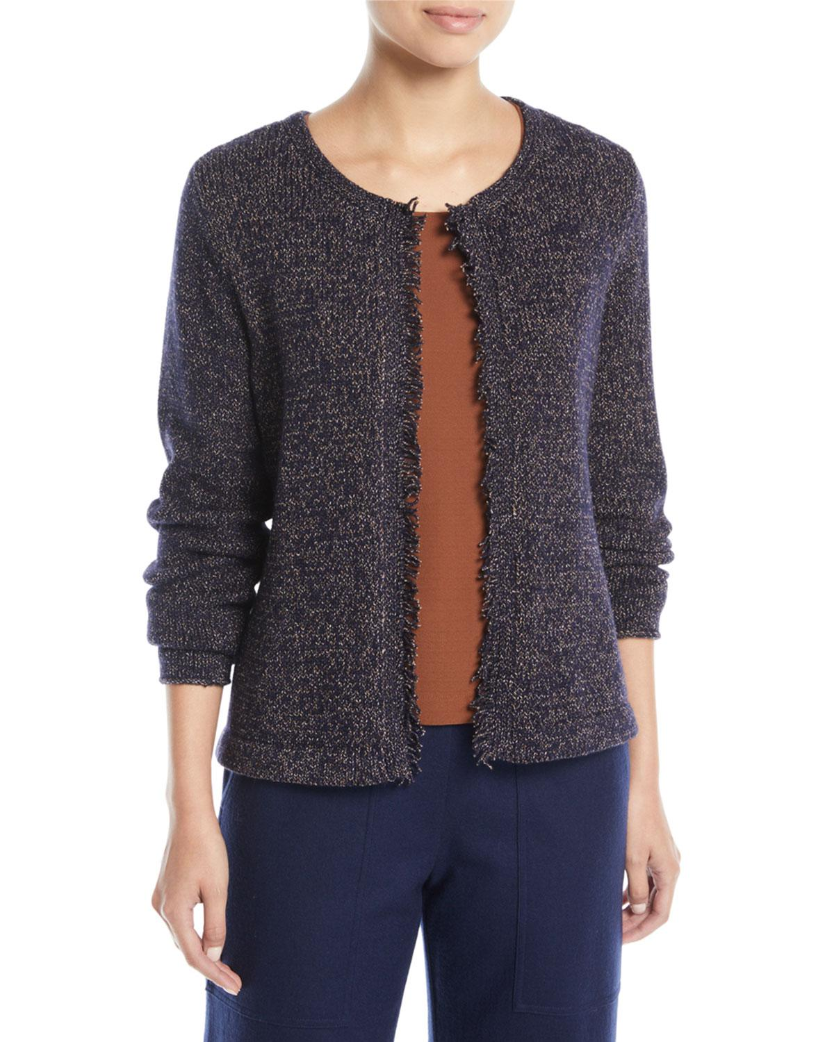 b823ec059e4 Eileen Fisher. Women's Blue Fringed-edge Round-neck Cardigan. $248 $121  From Neiman Marcus