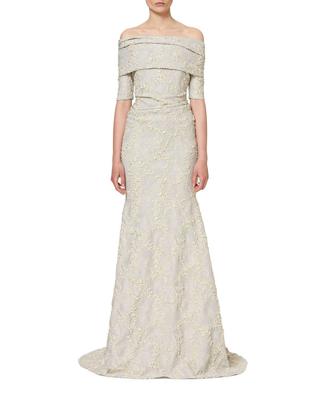 Carolina herrera Textured Off-the-shoulder Mermaid Gown in White ...