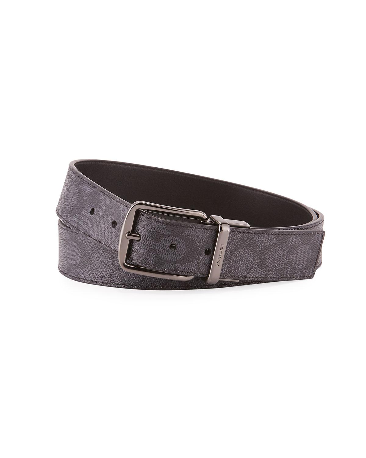 ec8a72df4790 COACH - Gray Men s Wide Harness Signature Print Belt for Men - Lyst. View  fullscreen