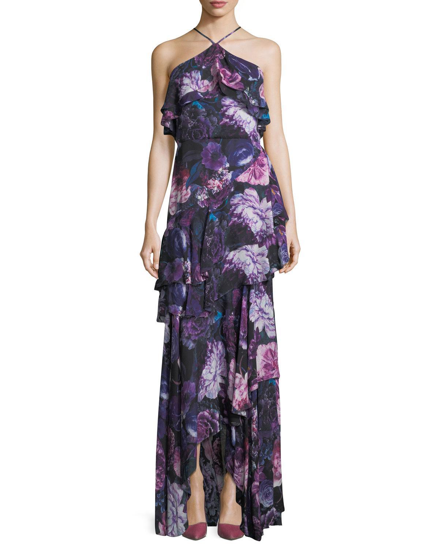 Lyst - Parker Black Jodie Halter Evening Gown In Floral Print