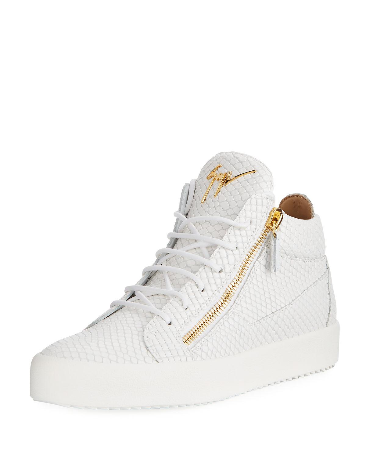 c0437d7b4191b Lyst - Giuseppe Zanotti Men's Embossed Leather Mid-top Sneakers in ...