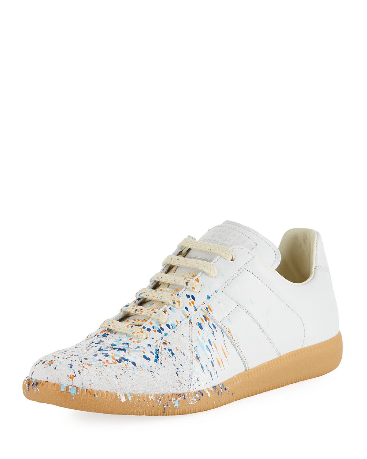 Mens Paint-Coated Canvas & Suede Sneakers Maison Martin Margiela DeGSL