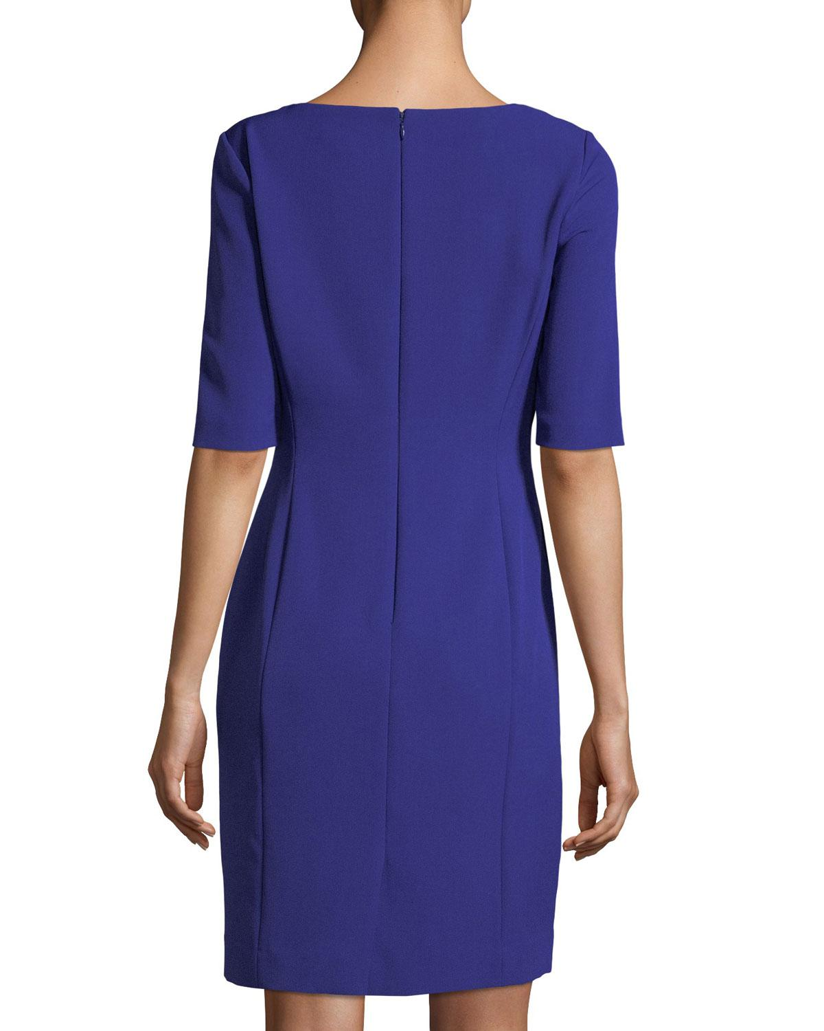 Lyst Tahari Asymmetric Neck Side Ruched Dress In Blue
