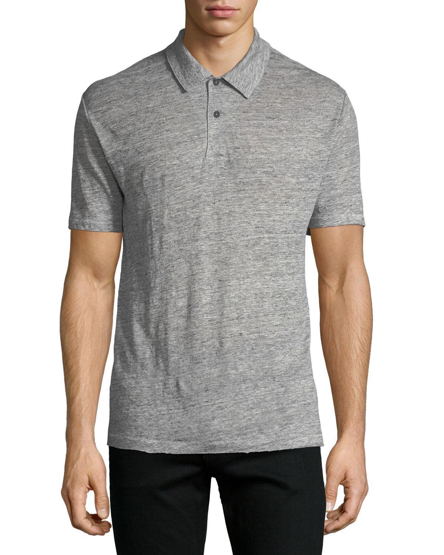 Lyst Rag Bone Mens Owen Heathered Knit Linen Polo Shirt In Gray