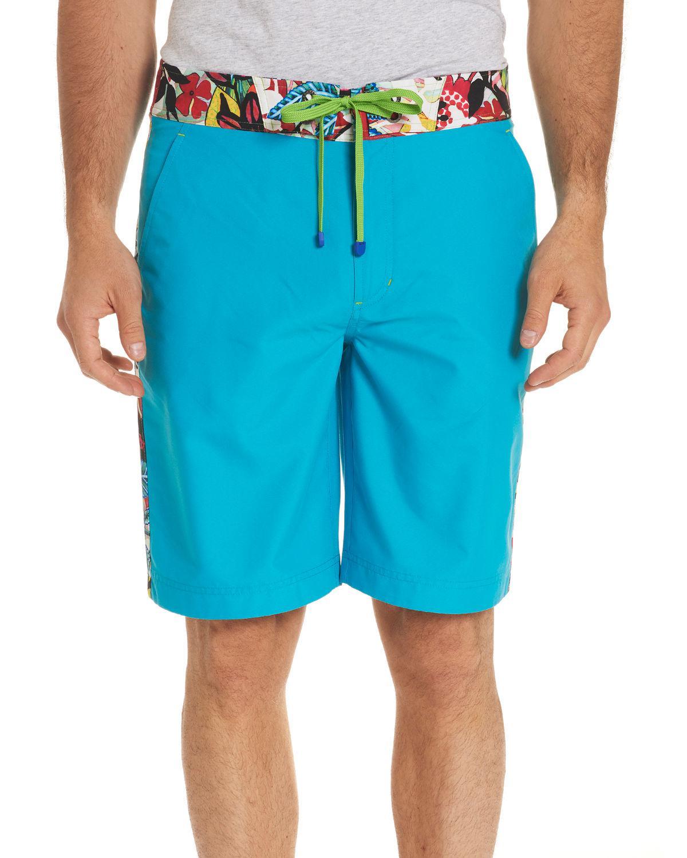 12de955732 Robert Graham. Men's Blue Dos Rios Graphic-trim Swim Trunks With Wet/dry  Color-change Effect