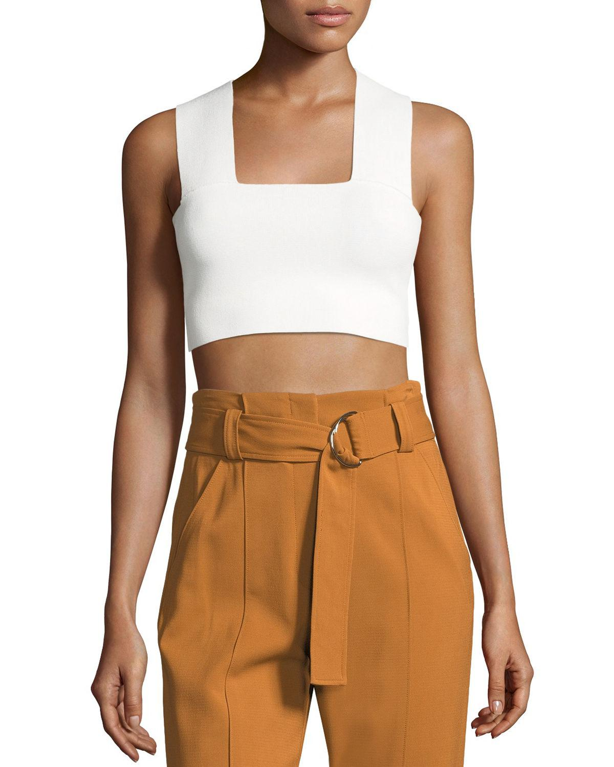 08cb155e36e0da A.L.C. Women's Ali Cropped Top - White - Size Large in White - Save ...