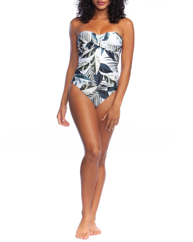 deb026cdd36 La Blanca. Women's Blue Moment Of Zen Printed Bandeau One-piece Swimsuit