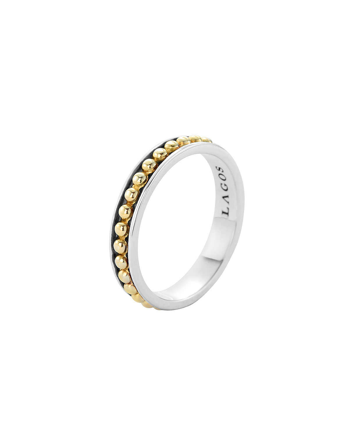 lagos 3mm stackable silver 18k enso ring in metallic lyst