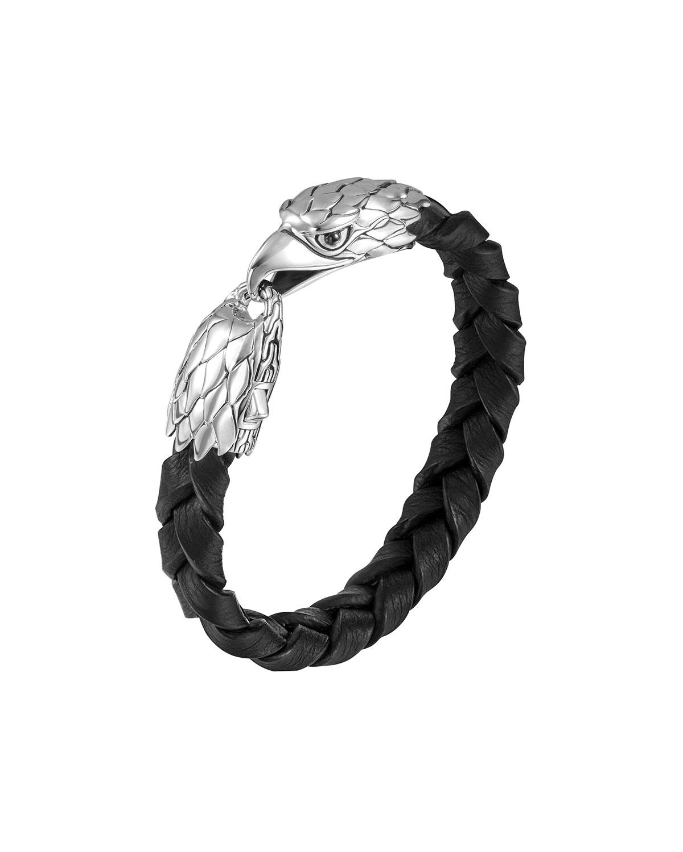 John Hardy Silver Eagle Head Leather Bracelet In Metallic