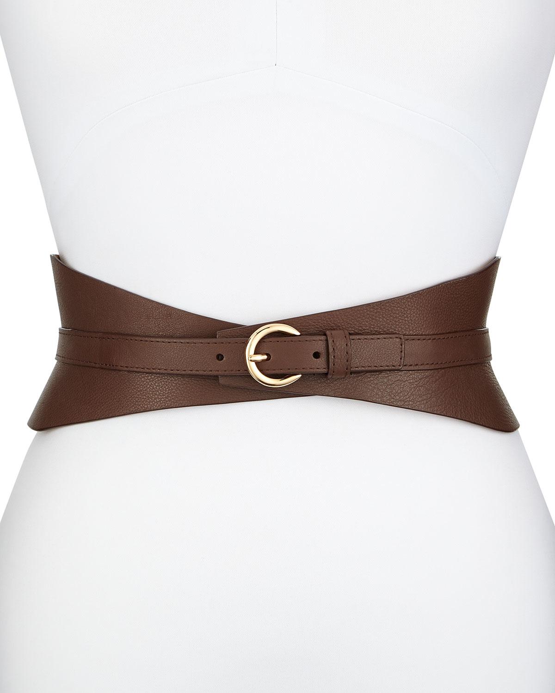 Neiman Marcus Leather Corset Belt In Brown