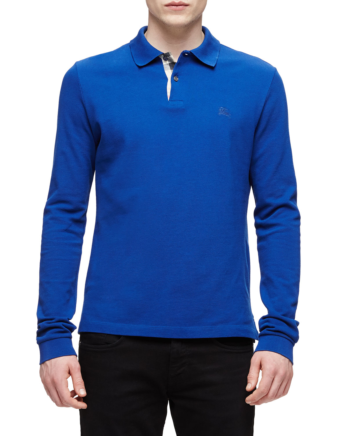 Burberry brit long sleeve pique polo shirt in blue for men for Mens long sleeve pique polo shirts