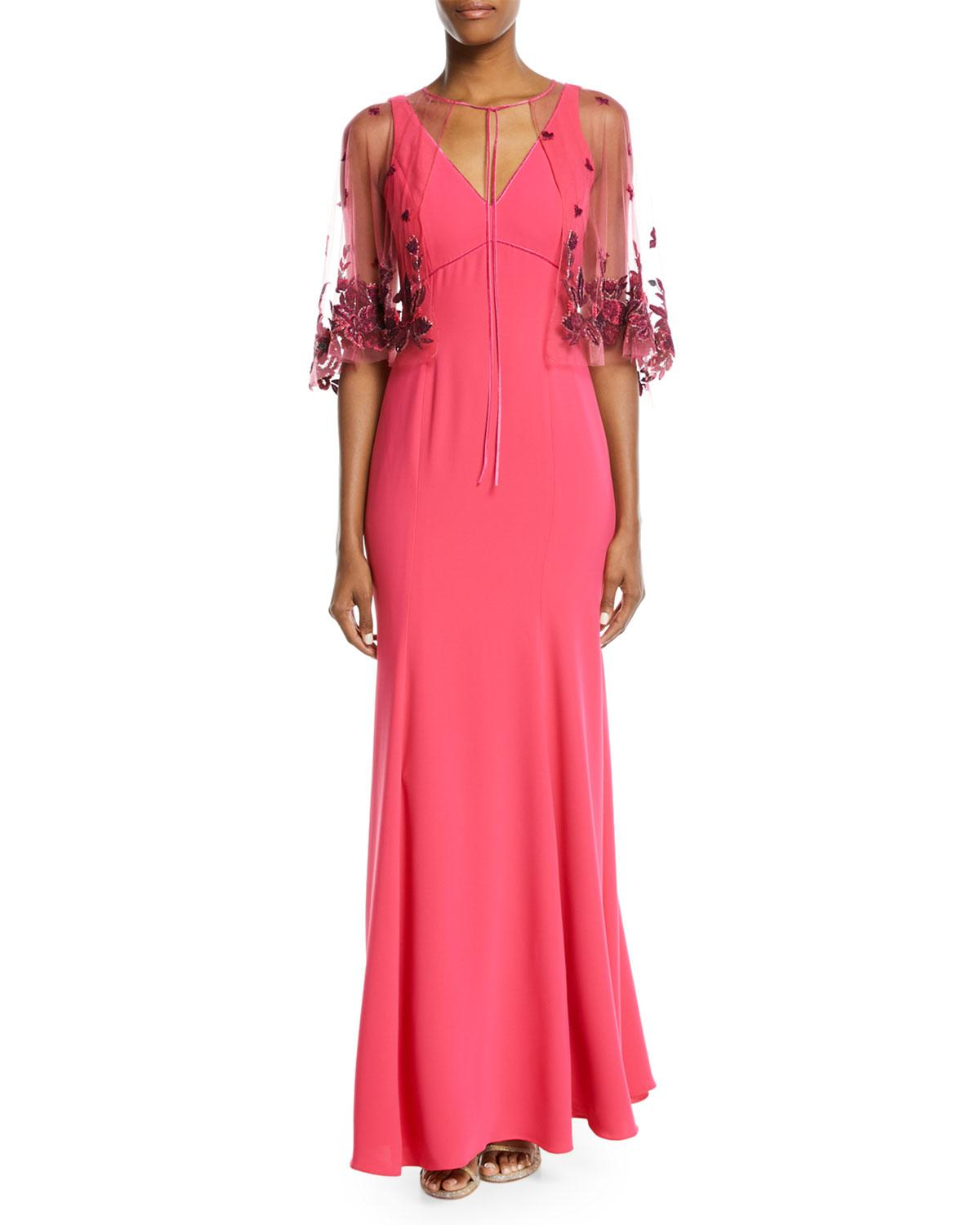 26a2bac6 Lyst - Marchesa Notte V-neck Crepe Gown W/ Beaded Cape in Pink