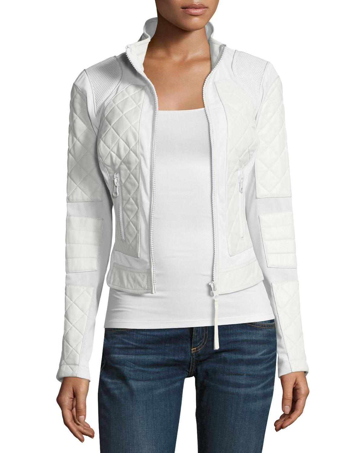 5ce06c84d5ab Lyst - BLANC NOIR Quilted Leather   Mesh Moto Jacket in White - Save 50%