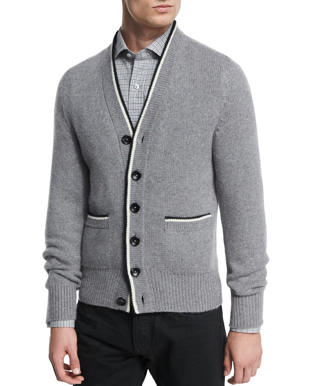 Tom ford Cashmere Varsity Button-down Cardigan in Gray for Men | Lyst
