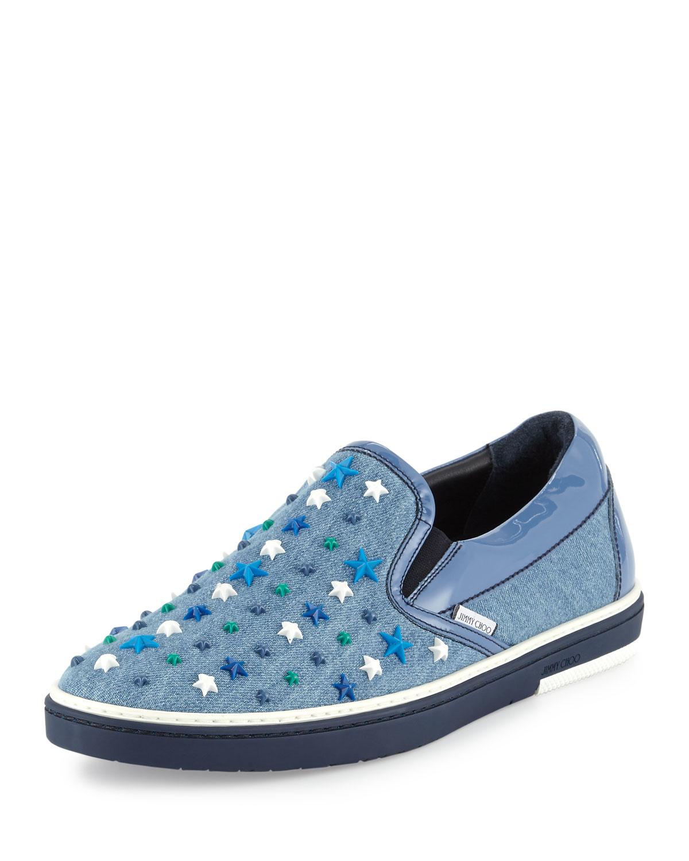 jimmy choo grove star detail denim slip on sneaker in blue lyst. Black Bedroom Furniture Sets. Home Design Ideas