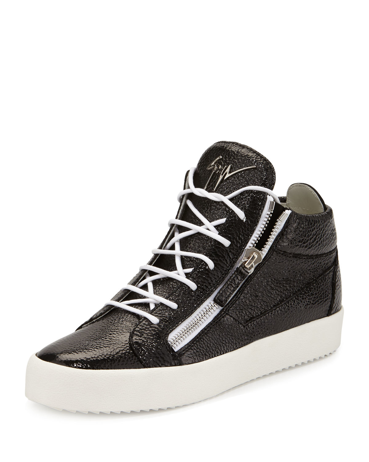 giuseppe zanotti s leather mid top sneaker in black lyst